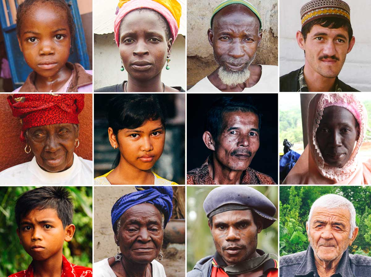 Photo collage of people without Bibles in their language